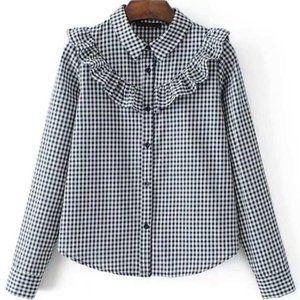 SHEIN Checkered Blouse w/ Ruffle Trim - Small